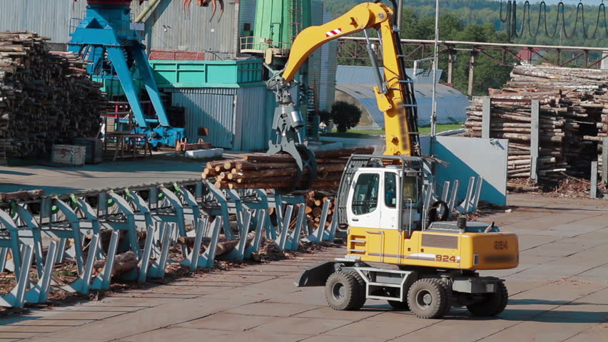 HEAVY EQUIPMENT TRUCK PICKER LUMBER FACTORY | Shutterstock HD Video #16908346