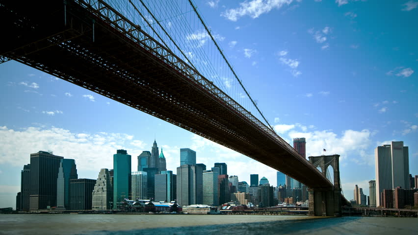 Timelapse view of New York City from under the Brooklyn Bridge  | Shutterstock HD Video #1691416