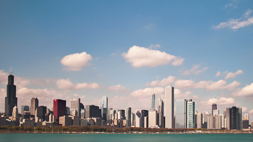 Downtown Chicago skyline timelapse