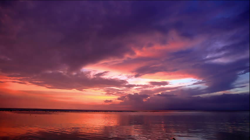 Tropic sunset over Bali as seen from Gili island #1694737