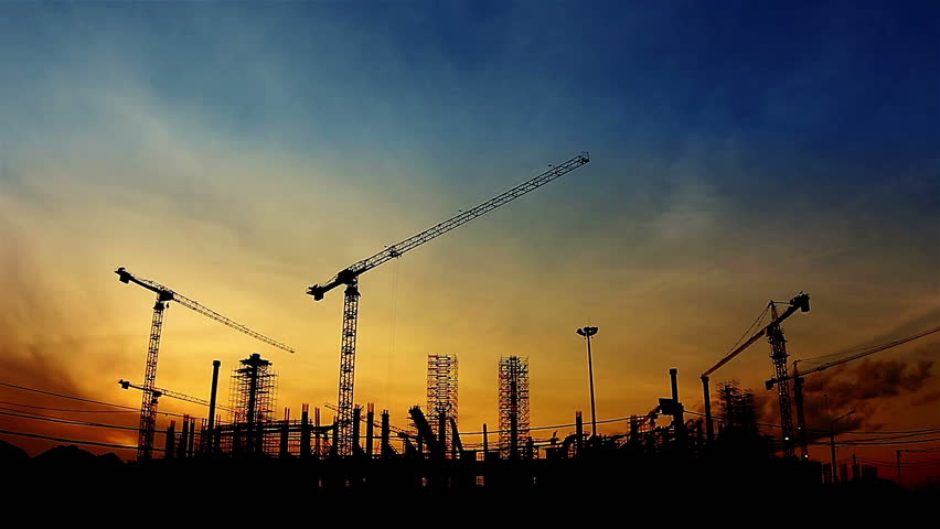 lifting construction crane construction site stock