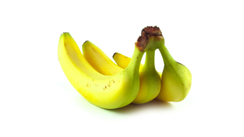Three rotating banana on white background - HD stock footage clip