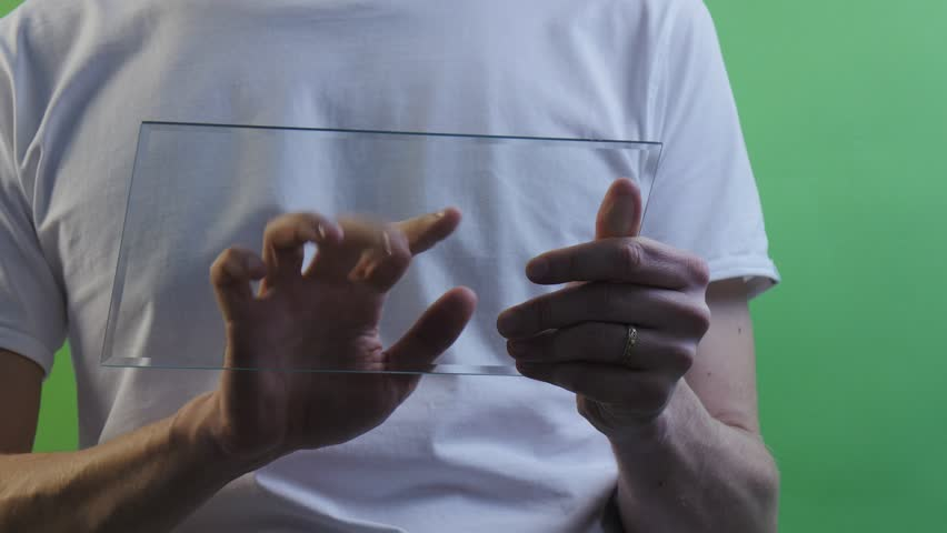 Man Clicks on Tablet Screen, Shows ok With His Hand and Walks Away, Businessman is Holding Virtual Futuristic Tablet, Hands Close Up, Golden Ring on a Finger, Looking at the Screen, Doing an Internet - 4K stock video clip