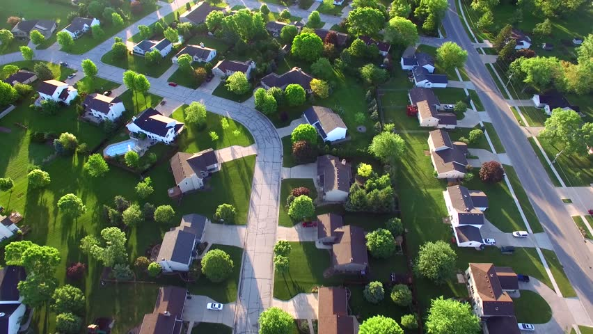 Beautiful, suburbs with stunning houses and landscaped yards, early morning, aerial view.  | Shutterstock HD Video #16962211