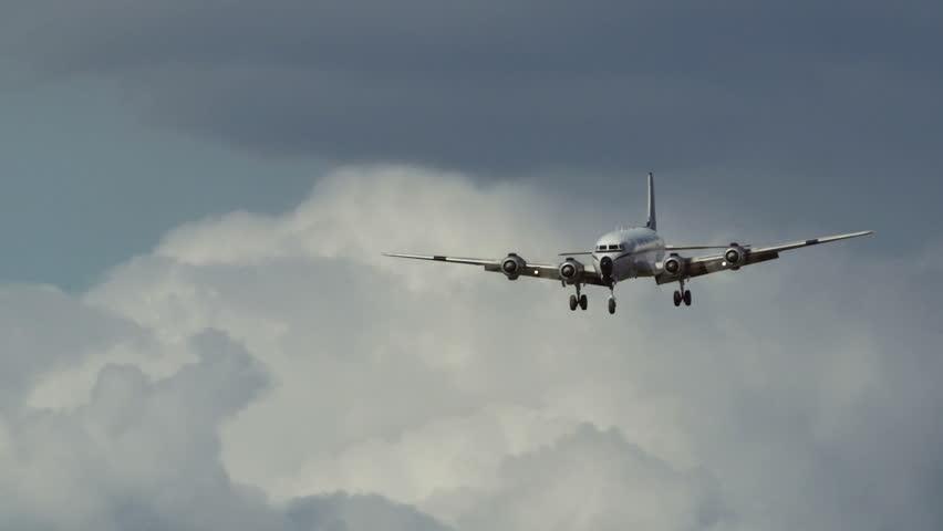 Fairbanks, Alaska, USA - JULY 2015. Heavy Propeller Aircraft Landing  In Fairbanks International Airport. Canon C300. - HD stock video clip