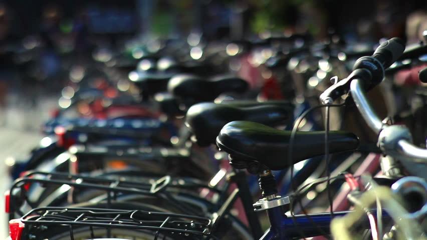 Bicycle rack on the street in Copenhagen, Denmark.