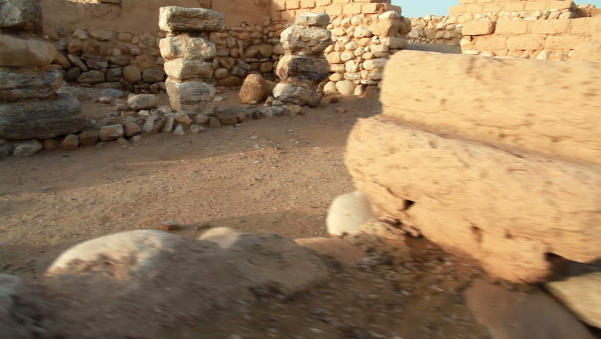 the dwellings of the ruins of the biblical city at Tel Be'er Sheva National Park in Israel. - HD stock video clip