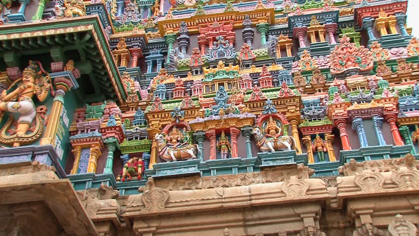 The Meenakshi Temple in Madurai, India - HD stock footage clip