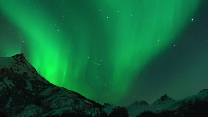 Time lapse clip of Polar Light or Northern Light (Aurora Borealis) in the night sky over the Lofoten islands in Norway in winter. Cinemagraph clip. #17067880