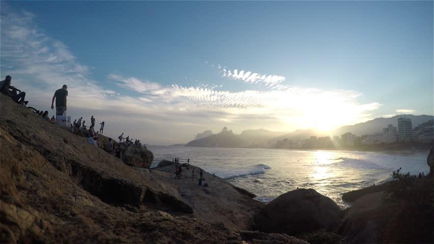 Sunset on Arpoador, RIO DE JANEIRO, BRAZIL, 29 of May 2016. - 4K stock video clip