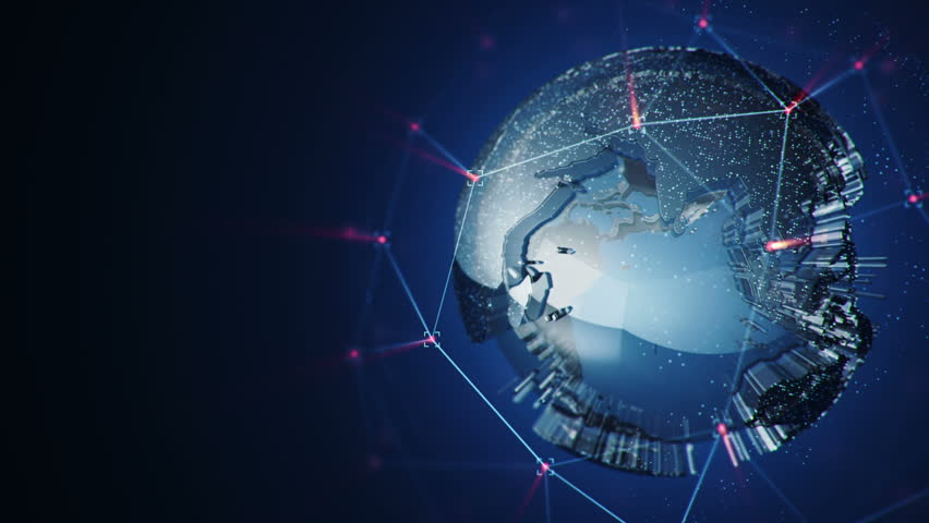Animation of abstract data with globe of earth in digital space. Global business backdrop. Animation of seamless loop. | Shutterstock HD Video #17090992
