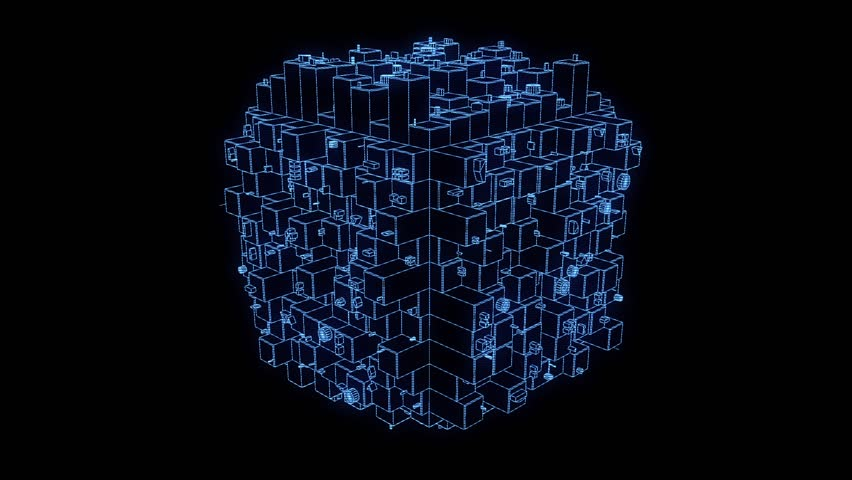 Abstract futuristic Hologram Wireframe Cube in Motion. Perfect Loop. - HD stock footage clip