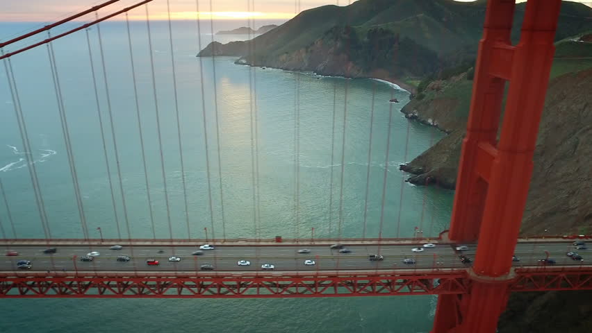 Aerial view of the Golden Gate Bridge. San Francisco, California. United States. Traffic. Shot from helicopter. #17133382