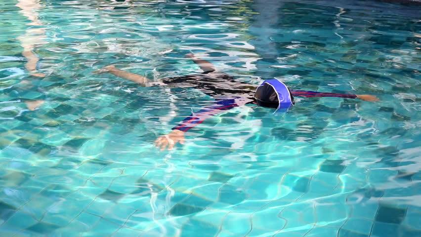 Thai children in swimming pool - HD stock video clip