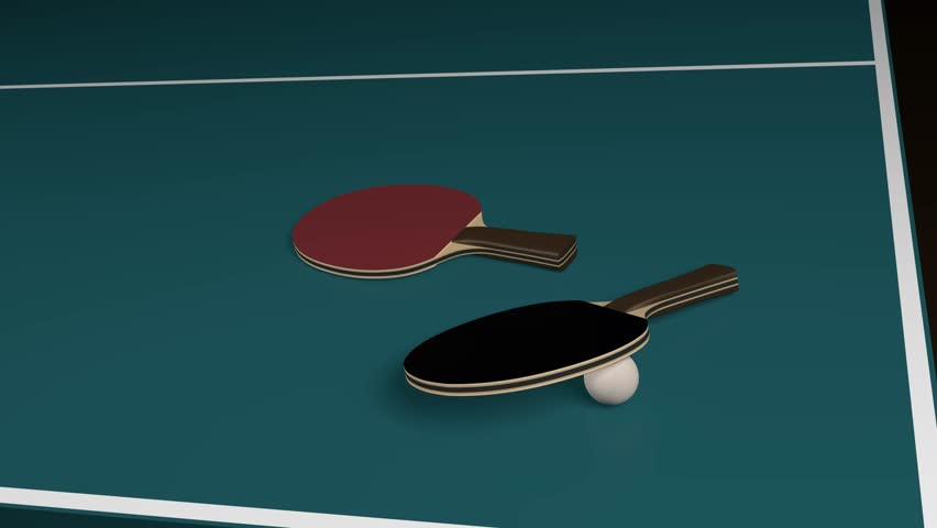 Table Tennis with two rackets and one ball - 4K stock video clip