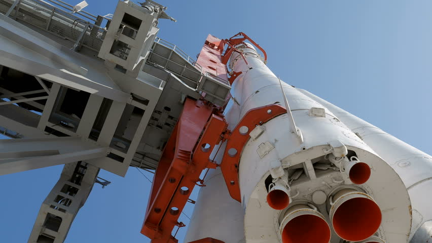 Nozzle of Rocket in launch pad in sunny day tilt up | Shutterstock HD Video #17315992