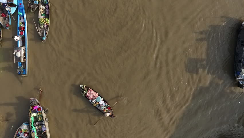 Aerial video from above, over a traditional floating market, in south of Vietnam | Shutterstock HD Video #17350660