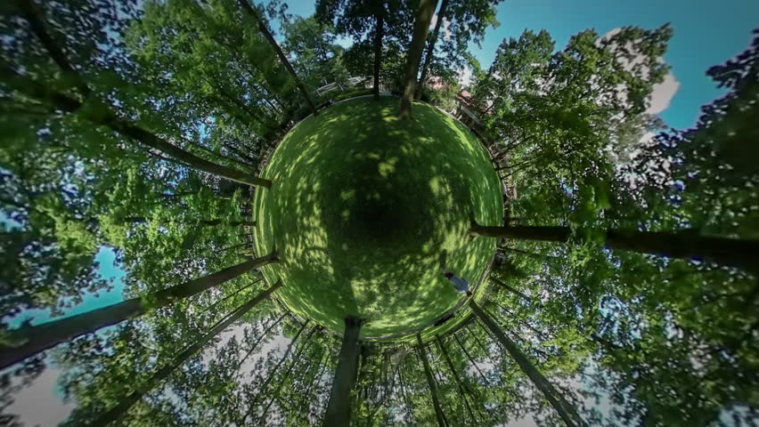 Tiny Planet, Man, Silhouette is Walking in Botanic Garden by Green Lawn, Park, Spherical Panorama, Mini-Planet, Mini-People, Walking by Alley and Looking Around in   Shutterstock HD Video #17386813