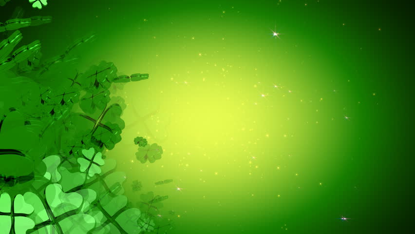 St. Patrick's Day - Green Four Leaf Clover Animation - HD stock video clip