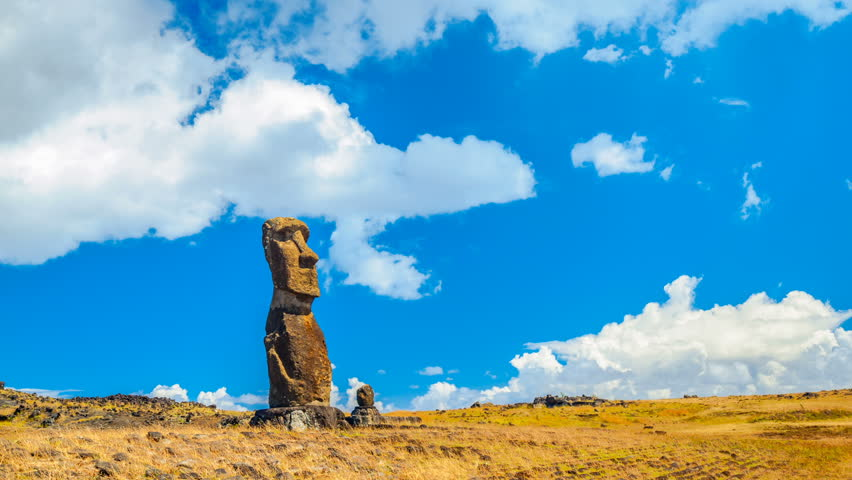 Easter Island, Chile - Feb 7, 2016 : View of clouds flow over the stone carving called Moai in Rapa Nui National Park on Easter Island in Chile, Feb 7, 2016.