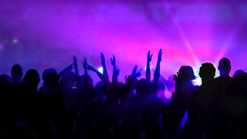Crowd Of Dancing People. Over Them The Stylized Sky With ...