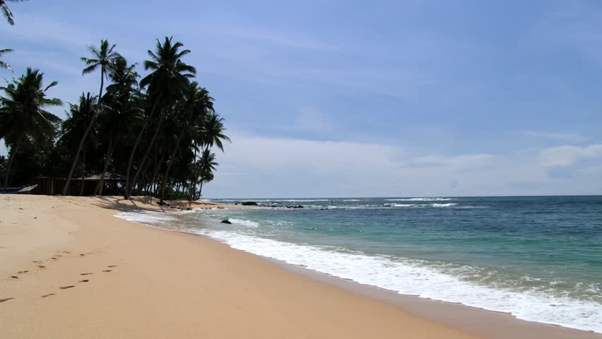 View to the sandy beach in Galle, Sri Lanka. - HD stock video clip