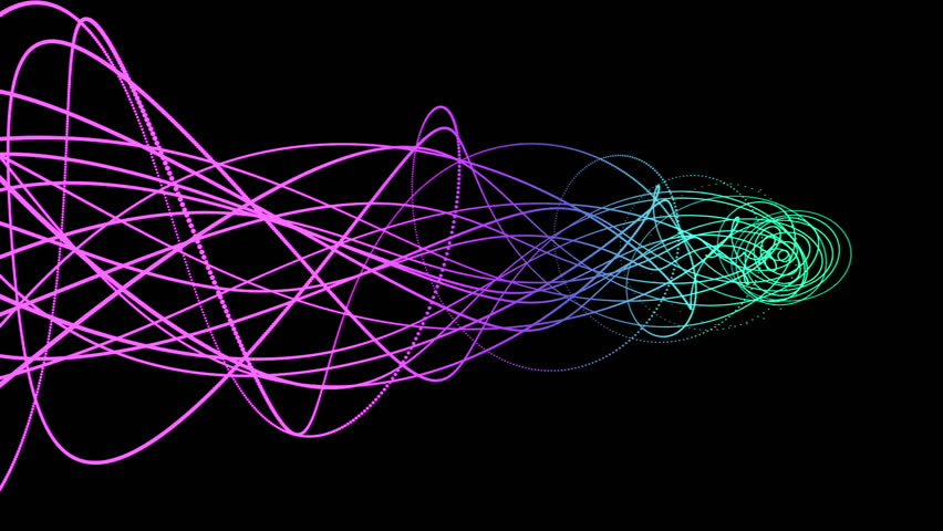 Abstract flowing colorful gradient lines isolated on black