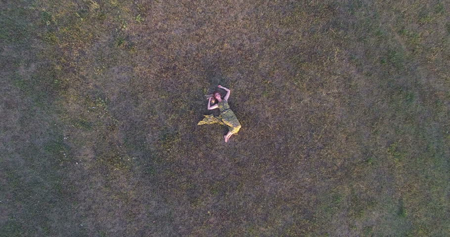 Aerial view of young blonde woman lying in grass and enjoying | Shutterstock HD Video #17458426