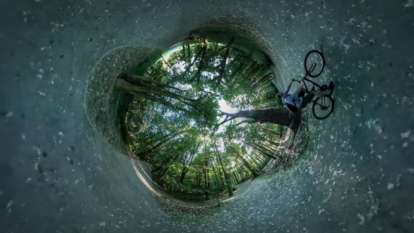 Man is Riding a Bicycle by Alley, Spherical Panorama, People on Road in Park, Sportsman, Cyclist, Tourist, Backpacker is Riding a Bike, Green Trees, Grass   Shutterstock HD Video #17469415