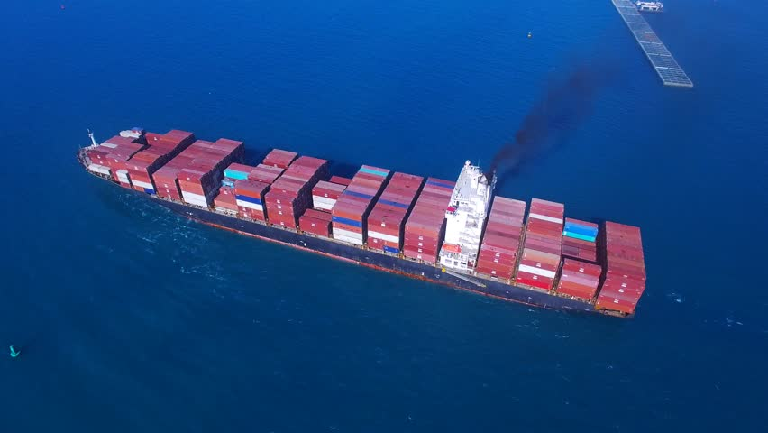 Large container ship at sea - Aerial footage | Shutterstock HD Video #17577883