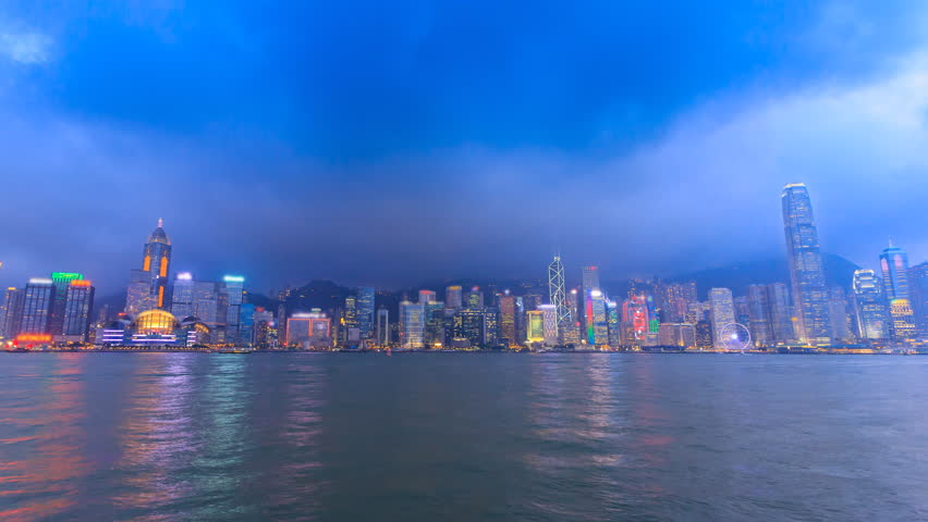 Hong Kong Victoria Harbour Cityscape Day To Night Time Lapse Of HongKong City, China (tilt down) | Shutterstock HD Video #17589808