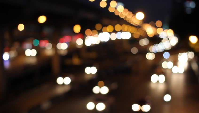City Street With Christmas Lights And Traffic Blurred ...  City Street Wit...