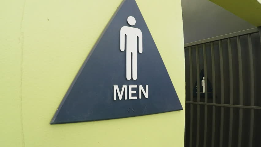 Truck Going Through Carwash Men 39 S Room Restroom Triangle Sign Bathroom At Car Wash With