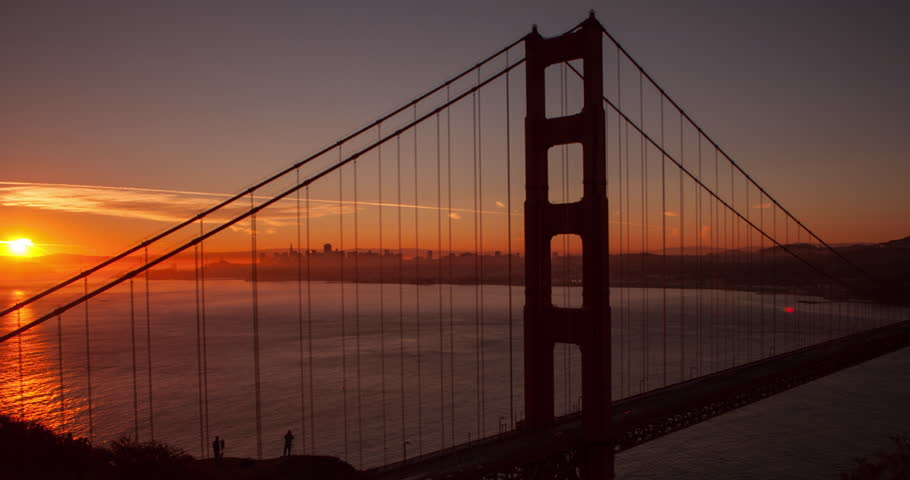 San Francisco, California, USA - Golden Gate Bridge and San Francisco Bay from famous Battery Spencer lookout at sunrise with spectacular color - Timelapse with pan left to right - October 2014