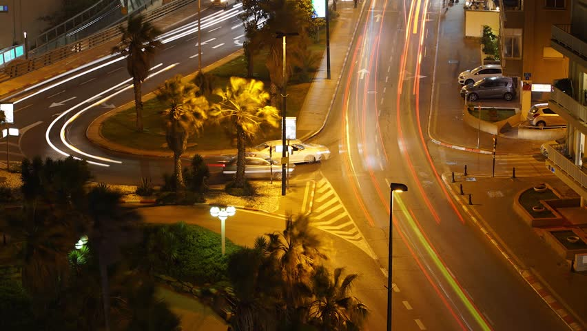 night timelapse of trafic - HD stock footage clip
