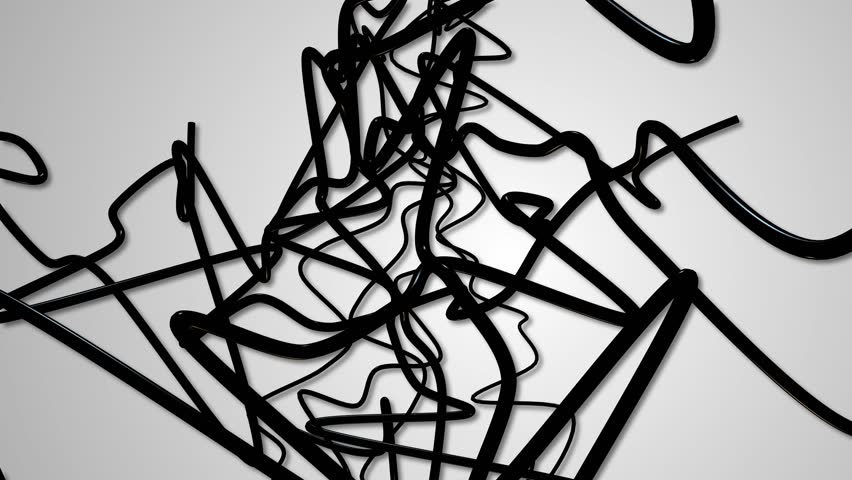 Random black and white strings abstract background | Shutterstock HD Video #17747758