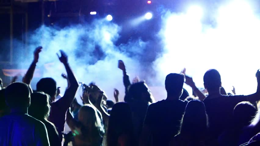 Celebration, holiday, feast. Night Beach Disco Go-go with illumination, concert. Dancing people with fun gladness on the discotheque entertainment. Gaiety merriment joyfulness of teens | Shutterstock HD Video #17751907