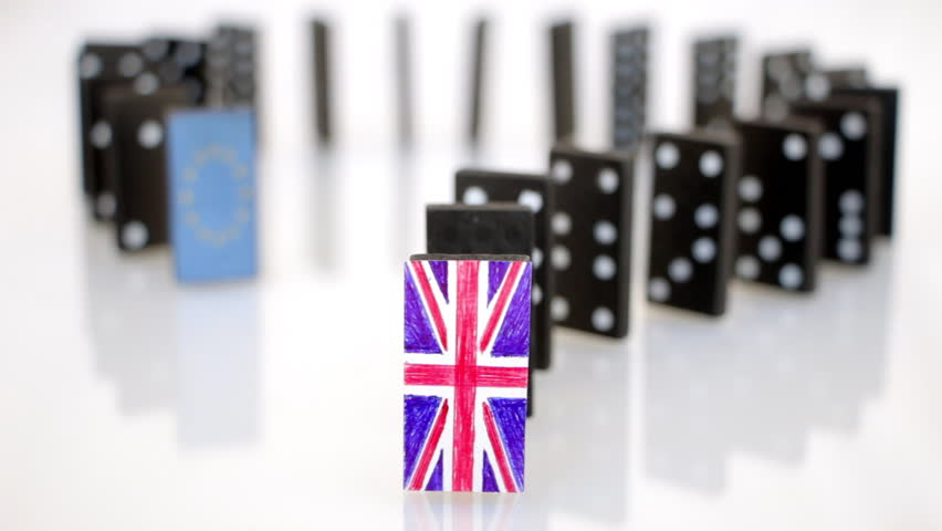 Domino effect starting with a tile with the UK flag ends with the tile of EU flag. Brexit domino effect   Shutterstock HD Video #17805052