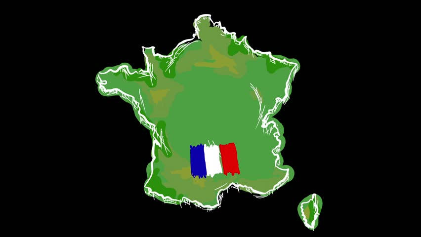 Hand Drawn Animation - Map of France - HD stock footage clip