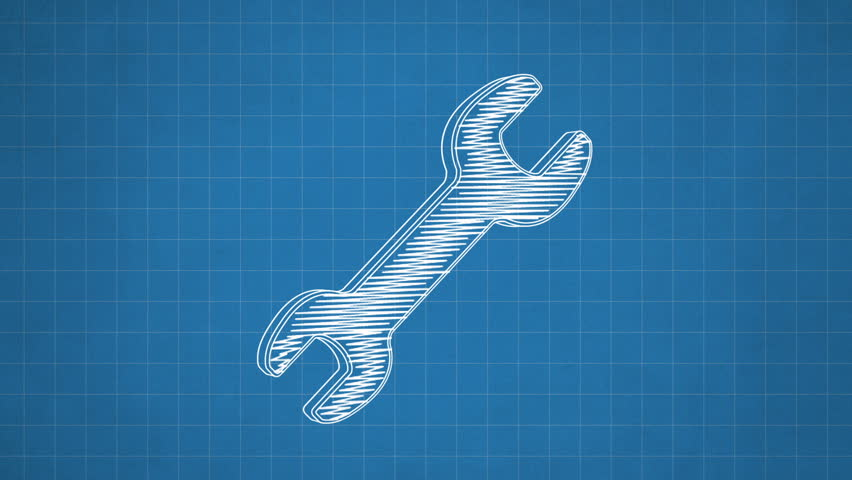 Hand drawn wrench icon rotating on the blueprint paper. Seamless loop animation.  - HD stock footage clip