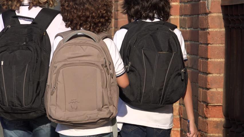 Elementary Students Wearing Backpacks