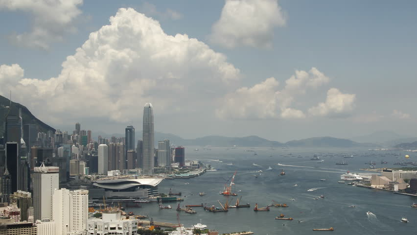 Time lapse of Hong Kong Victoria Harbor City skyline - Tsim Sha Tsui, Kowloon, Victoria Harbor and Hong Kong island. | Shutterstock HD Video #17859475