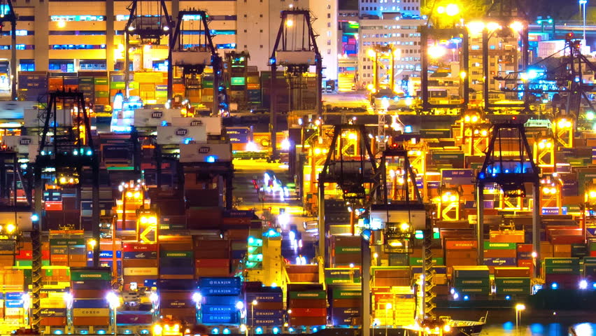 HONG KONG, CHINA - 17 JUL 2015: Commercial container terminal and industrial port at night in Hong Kong harbour | Shutterstock HD Video #17873713