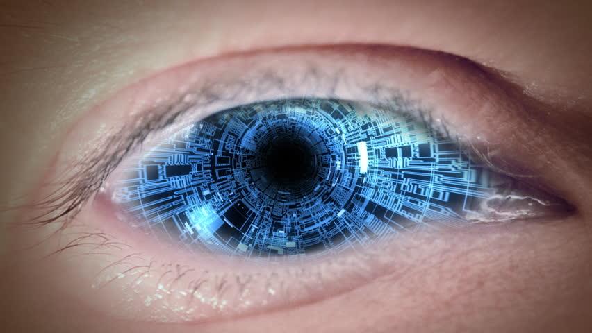 Close up to matrix eyeball. Loop.