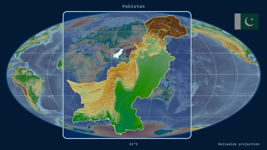 Zoomed-in view of a Pakistan outline with perspective lines against a global physical map in the Mollweide projection | Shutterstock HD Video #17928892