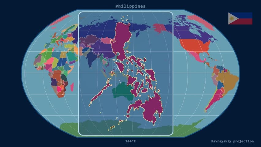 Zoomed-in view of a Philippines outline with perspective lines against a global admin map in the Kavrayskiy VII projection | Shutterstock HD Video #17929252