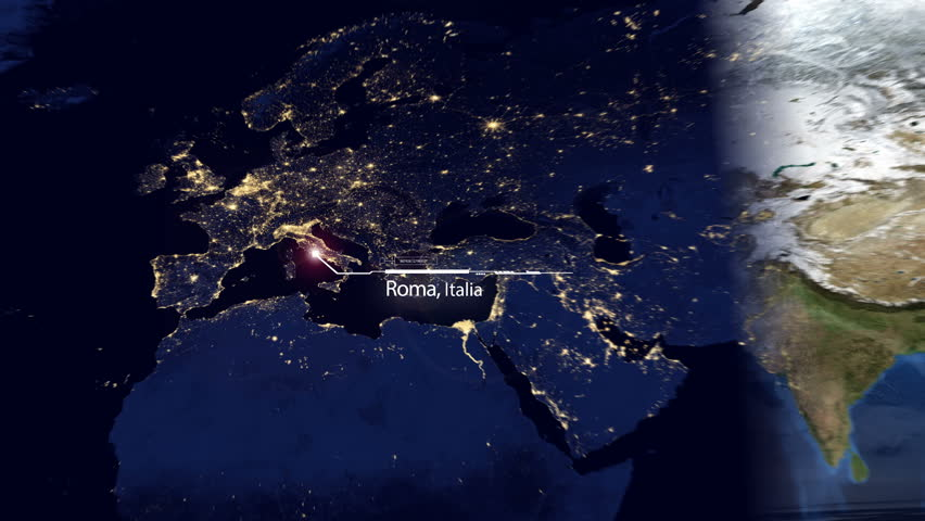 Europe World Map Timelapse - Establishing GPS Technology Satellite Location Series (Rome, Italy) | Shutterstock HD Video #18003223