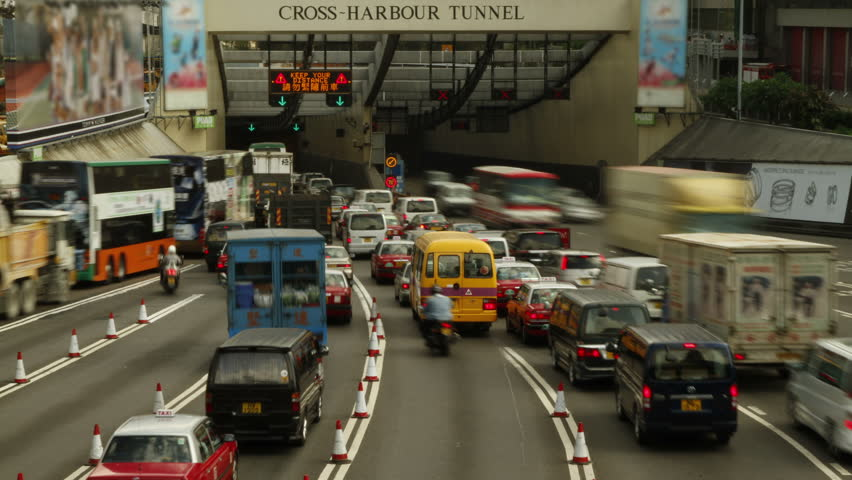 HONG KONG - MAY 11: Time lapse of vehicles using the Cross-Harbour Tunnel during rush hour, It has become one of the most congested roads in Hong Kong and the world. Hong Kong, on May 11, 2011. - 4K stock video clip