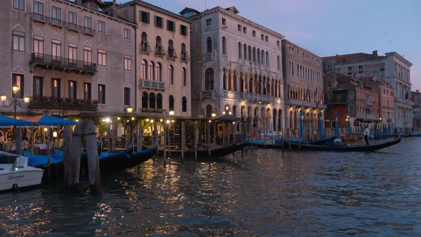 Wonderful Grand Canal in the evening - Canale Grande - VENICE / ITALY - JUNE 29, 2016 - 4K stock footage clip