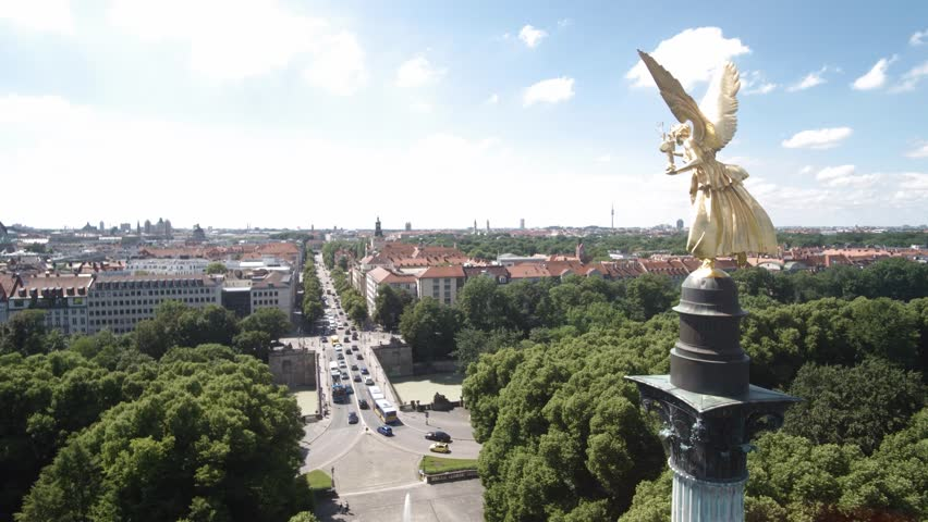 MUNICH, GERMANY - JUNI 28, 2016: Munich Angel of Peace aerial shoot in 4K.  Stock Aerial footage of Munich. | Shutterstock HD Video #18053479